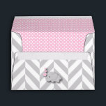 """Pink, White Gray Elephant Baby Shower Envelope<br><div class=""""desc"""">Pink, White Gray Elephant Baby Shower Envelopes. 100% Customizable. Ready to Fill in the box(es) or Click on the CUSTOMIZE button to add, move, delete or change any of the text or graphics. Made with high resolution vector and/or digital graphics for a professional print. NOTE: (THIS IS A PRINT. All...</div>"""