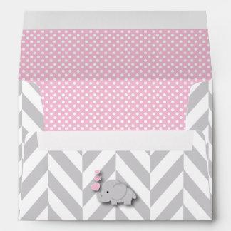 Pink, White Gray Elephant Baby Shower Envelope