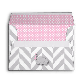 Pink, White Gray Elephant Baby Shower Envelope