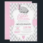"Pink, White Gray Elephant Baby Shower Invitation<br><div class=""desc"">***** 5 Star Review ***** Baby Shower Invitation. Featuring a gray chevron pattern with pink and white polka dots and a cute adorable cartoon baby girl elephant. Impress your guest with this darling invitation. Lots of matching products available. 100% Customizable. Ready to Fill in the box(es) or Click on the...</div>"