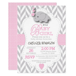 Pink White Gray Elephant Baby Shower Invitation