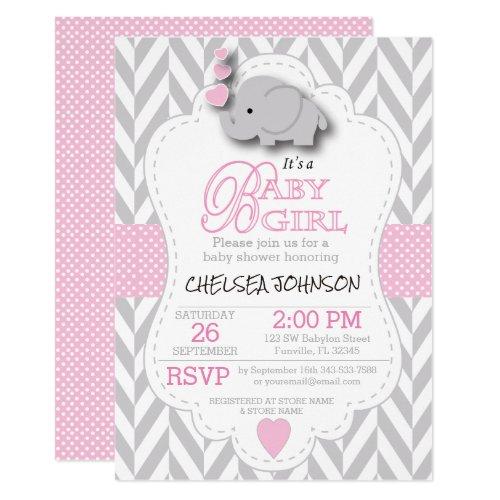 Pink White Gray Elephant  Baby Shower Invitation