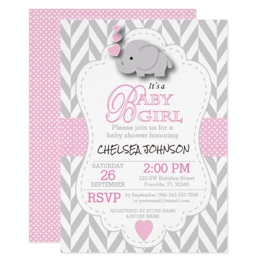 Pink White Gray Elephant Baby Shower Invitation Zazzle