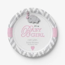 Pink, White Gray Elephant Baby Shower Paper Plate