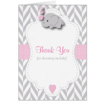 Pink, White Gray Elephant Baby Shower Thank You Card