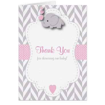 Toddler & Baby themed Pink, White Gray Elephant Baby Shower Thank You Card