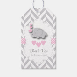 Pink, White Gray Elephant Baby Shower Thank You Gift Tags
