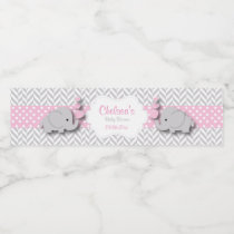Pink, White Gray Elephant Baby Shower Water Bottle Label