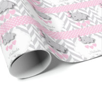 Pink, White Gray Elephant Baby Shower Wrapping Paper