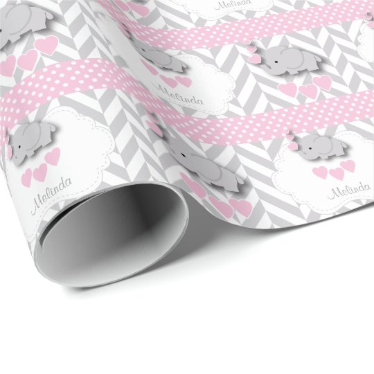 Pink White Gray Elephant Baby Shower Wrapping Paper Zazzle