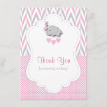 Pink, White Gray Elephant Thank You 2