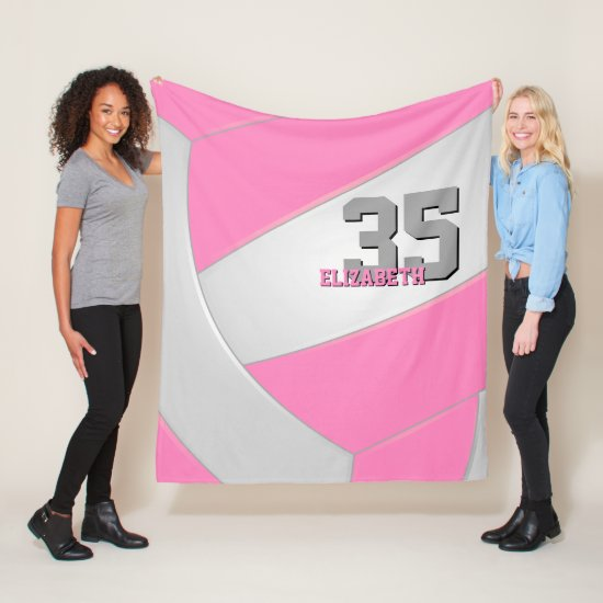 pink white gray girly volleyball personalized fleece blanket