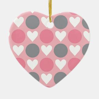 Pink white gray heart circle pattern ceramic ornament