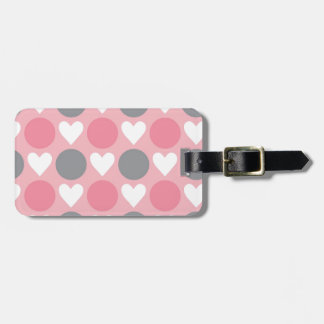 Pink white gray heart circle pattern tag for luggage