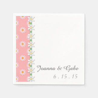 Pink White Green Daisy Floral Wedding Napkin