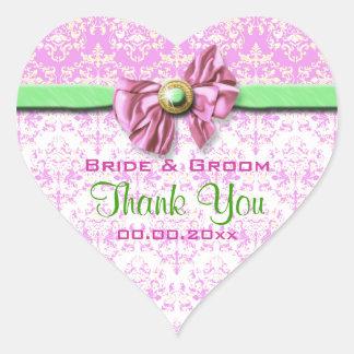 Pink white green damask elegant heart stickers
