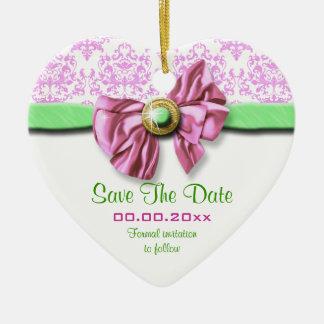 Pink white green damask elegant wedding christmas ornament