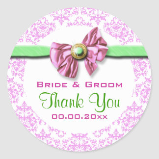 Pink white green damask wedding classic round sticker