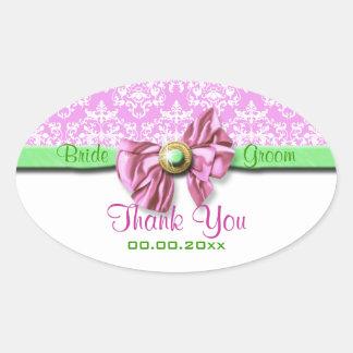 Pink white green damask wedding oval sticker