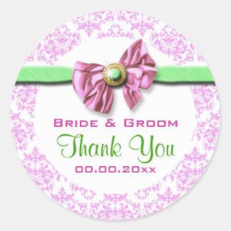 Pink white green damask wedding stickers