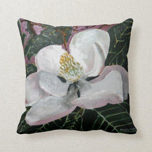 pink white green magnolia flower throw pillow Zazzle