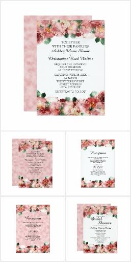 Pink White Green Vintage Floral Wedding
