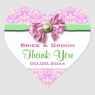 Pink white green wedding thank you heart sticker