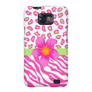 Pink, White & Green Zebra & Cheetah & Pink Flower Galaxy S2 Cover