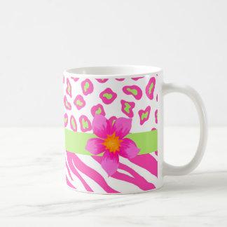 Pink, White & Green Zebra & Cheetah & Pink Flower Classic White Coffee Mug