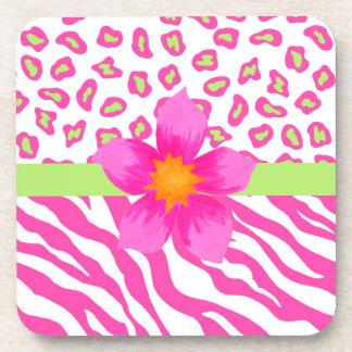 Pink, White & Green Zebra & Cheetah & Pink Flower Beverage Coasters