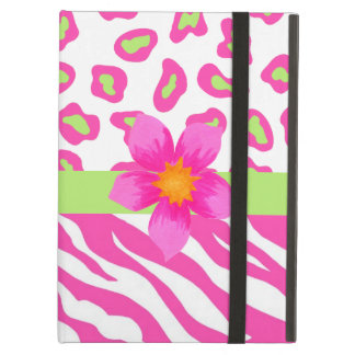Pink, White & Green Zebra & Cheetah & Pink Flower Cover For iPad Air