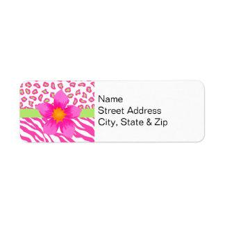 Pink, White & Green Zebra & Cheetah & Pink Flower Label