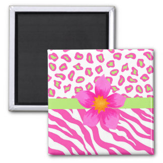 Pink, White & Green Zebra & Cheetah & Pink Flower 2 Inch Square Magnet