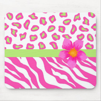 Pink, White & Green Zebra & Cheetah & Pink Flower Mouse Pad