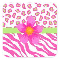 Pink, White & Green Zebra & Cheetah & Pink Flower Square Sticker