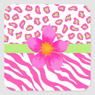 Pink, White & Green Zebra & Cheetah & Pink Flower Square Sticker