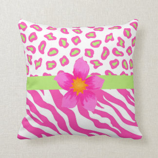 Pink, White & Green Zebra & Cheetah & Pink Flower Throw Pillow