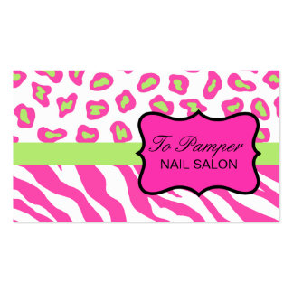 Pink, White & Green Zebra & Cheetah Skin Custom Double-Sided Standard Business Cards (Pack Of 100)
