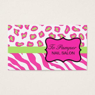 Pink, White & Green Zebra & Cheetah Skin Custom Business Card