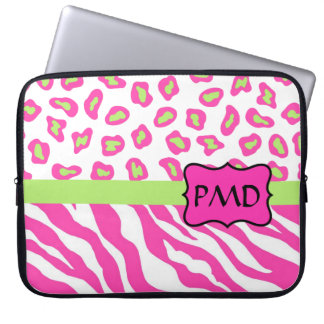 Pink, White & Green Zebra & Cheetah Skin Custom Computer Sleeve
