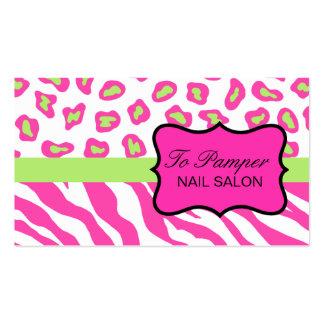 Pink, White & Green Zebra & Cheetah Skin Custom Double-Sided Standard Business Cards (Pack Of 100)