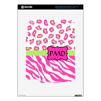 Pink, White & Green Zebra & Cheetah Skin Custom iPad 3 Skins