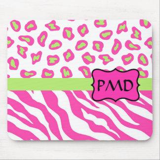 Pink, White & Green Zebra & Cheetah Skin Custom Mouse Pad