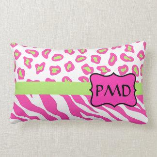 Pink, White & Green Zebra & Cheetah Skin Custom Pillow