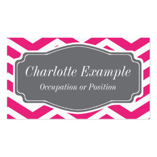 Pink White Grey Chevron Personal Business Card