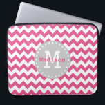 "Pink White Grey Chevron Zigzag Monogram Laptop Sleeve<br><div class=""desc"">Cute and girly Chevron Zigzag pattern in pink and white with a trendy grey label frame with white dots,  custom monogram initial letter and personalized name. An elegant customizable gift for a girl or woman that loves elegant geometric patterns that are personalized.</div>"