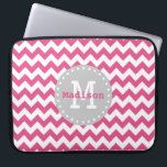 """Pink White Grey Chevron Zigzag Monogram Laptop Sleeve<br><div class=""""desc"""">Cute and girly Chevron Zigzag pattern in pink and white with a trendy grey label frame with white dots,  custom monogram initial letter and personalized name. An elegant customizable gift for a girl or woman that loves elegant geometric patterns that are personalized.</div>"""