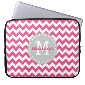 Pink White Grey Chevron Zigzag Monogram Laptop Sleeve