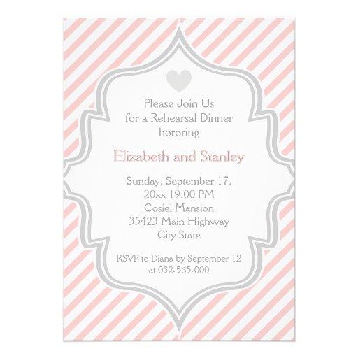 Pink, white, grey stripes wedding Rehearsal Dinner Cards