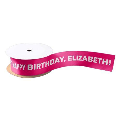 Pink White Happy Birthday Name   Personalized Satin Ribbon